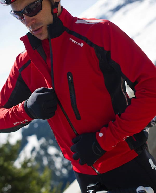 Red Endura weather proof cycling jacket
