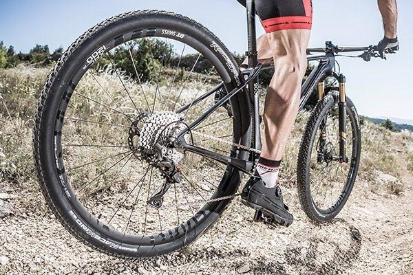 Hardtail mountain bike on trail
