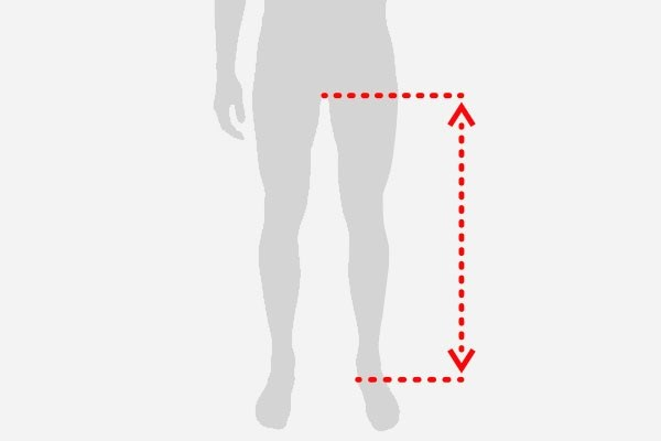 A graphic showing how to measure your inside leg for bike fit