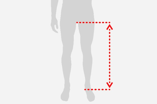 Graphic showing leg measurements for bike sizing