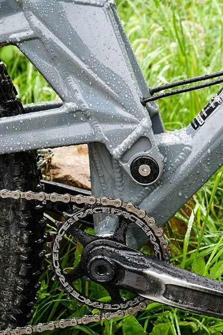 A close up showing the pivot point of the frame and how it helps to absorb the bumps of the MTBer