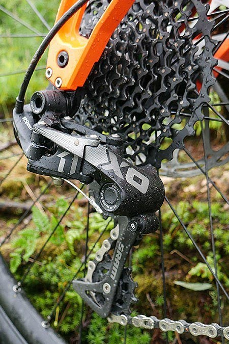 Close up view of the rear deraileur and cassette