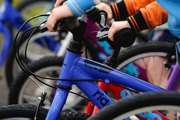 kids bike brakes close up