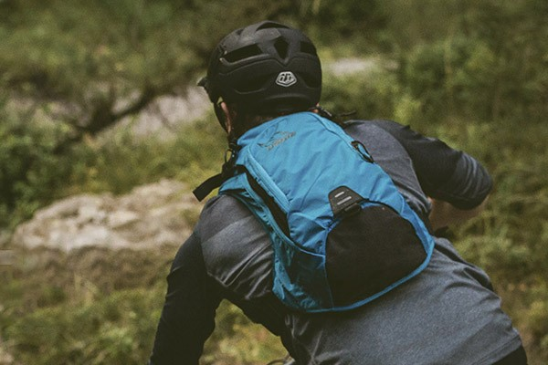 mountainbiker with hydration pack