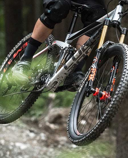 Chunky mountain bike tyres on a Cube full suspension bike