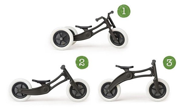 Different positions illustrated in a photograph of a wishbone kids balance bike