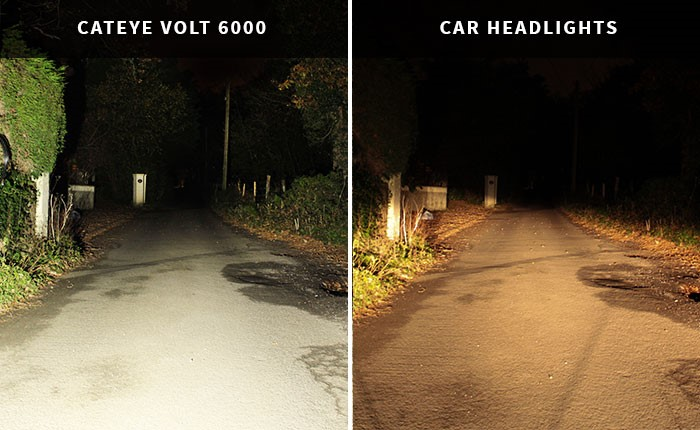 Cateye Volt 6000 vs car headlights