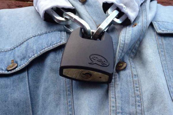 Close up showing the locking mechanism of the padlock