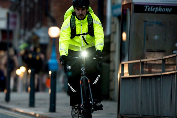 Commuter cyclist with bike lights