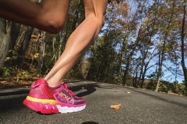 Pink Hoka One One running shoes