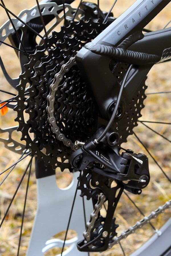 A close up view of the Cassette and Rear Derailleur on the Mondraker Crafty E Bike