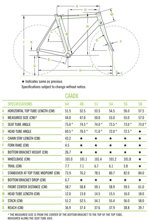 Illustrated image that shows the dimensions of the various parts of the Cannondale Caadx
