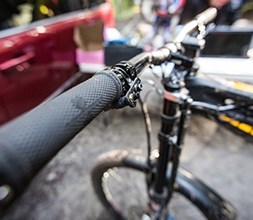 Close up of bike handlebar with grips