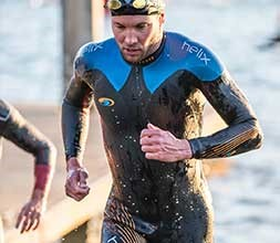Swimmer wearing a tri suit