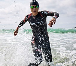 Triathlete wearing Orca wetsuit