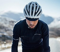 Road cyclist wearing long sleeve Endura base layer