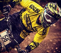 Cyclist wearing IXS clothing