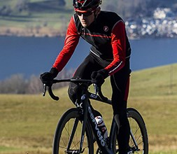 Cyclist wearing a Castelli jacket
