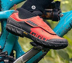 Mountain biker wearing Giro MTB shoes