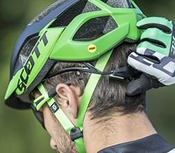 Close up of a Scott MTB helmet