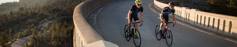 Two road cyclists crossing a bridge, riding Giant TCR Advanced road bikes