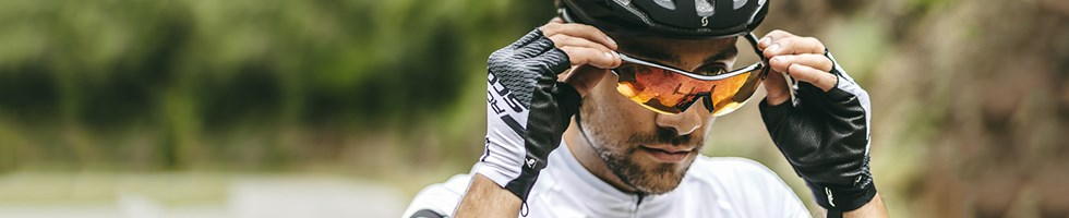 Cyclist wearing sunglasses