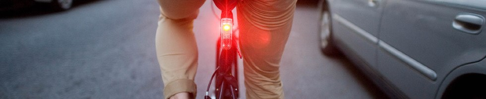 Close up of a rear bike light