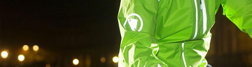 Reflective Endura cycling jacket at night