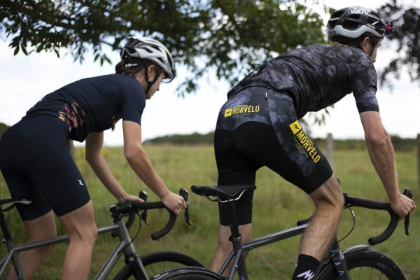 two cyclists in lycra shorts