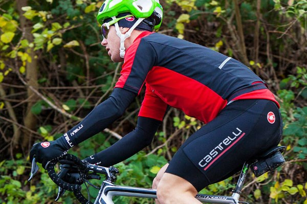 cyclist in Castelli shorts