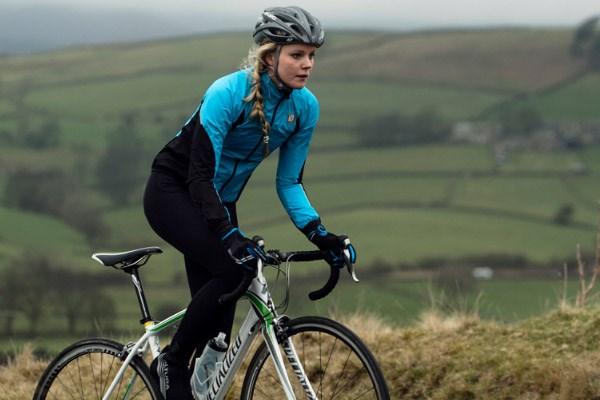 Cyclist wearing waterproof jacket