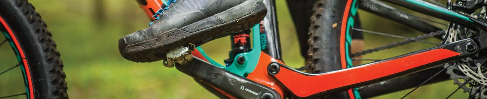 Close up of clipless MTB pedals