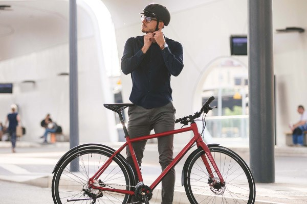 Commuter gearing up for a bike ride