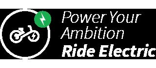 Electric mountain bike on dusty trail
