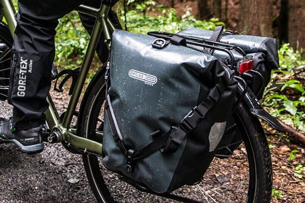 Ortlieb rear pannier bags on a bike