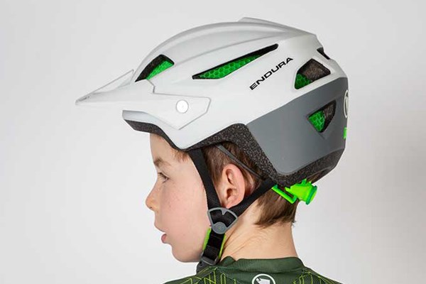 child wearing an endura bike helmet