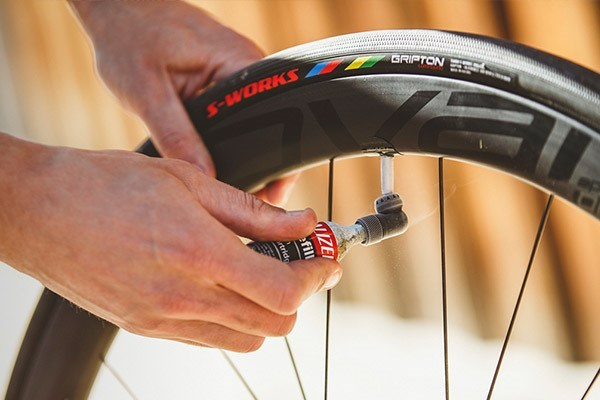 using a co2 inflator on  a bike tyre