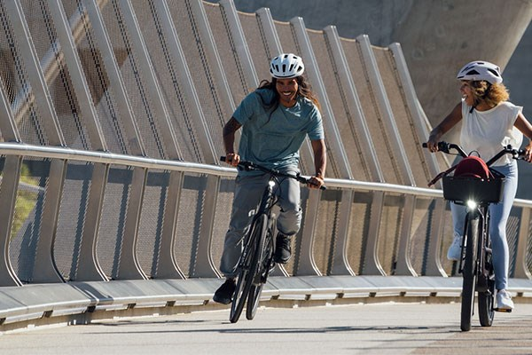 Cyclists riding to work