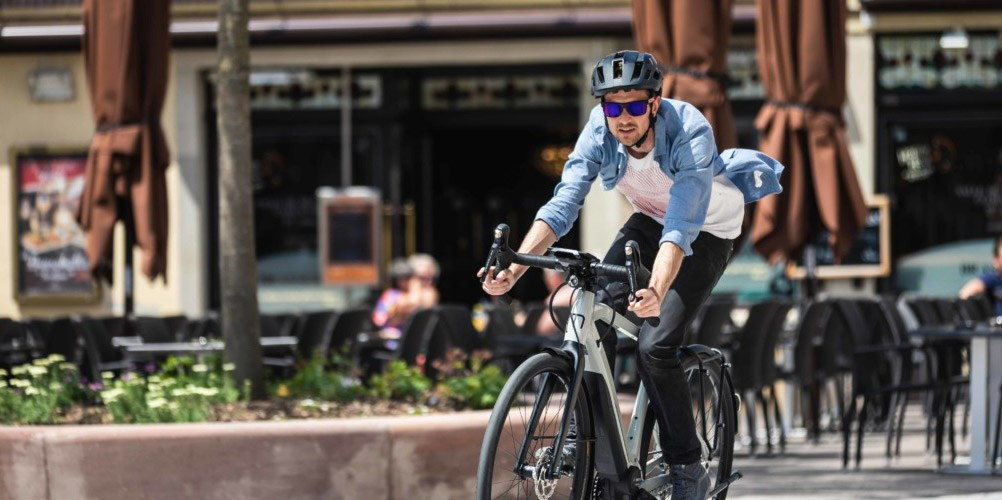 A cyclist on a Moustache electric bike