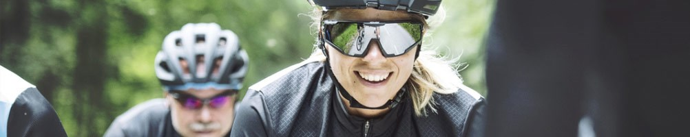 Road cyclists wearing glasses