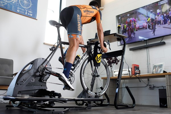 Riding a smart turbo trainer set up