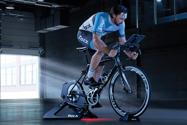 Riding a turbo trainer at home
