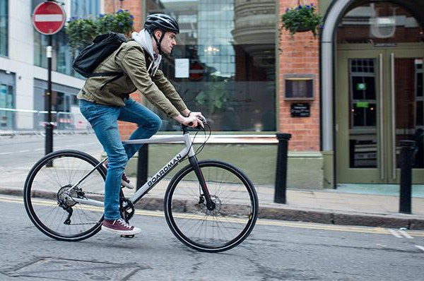 city cyclist riding a Boardman hybrid bike