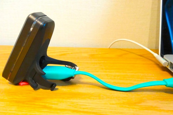 A Knog light charging with USB cable