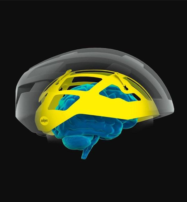 MIPS helmet diagram showing the brain