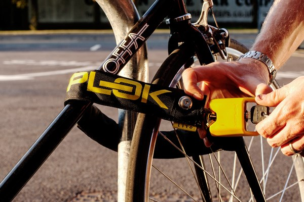 Locking a bike with a chain lock