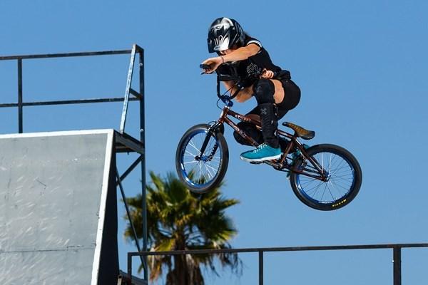BMX rider at a skate park