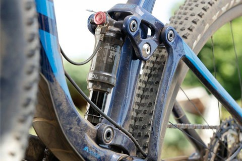 Mountain bike rear shock muddy