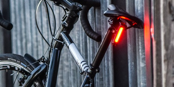 A bright rear light from Moon is a great way to be seen on the road or on the trail