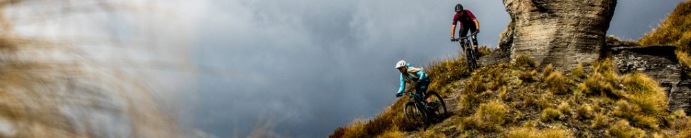 Mountain bikers on the crest of a hill